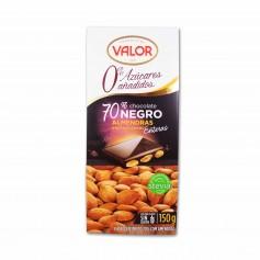Valor Chocolate 70%Negroy Stevia con Almendras Enteras - 150g