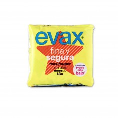 Evax Compresas Fina y Segura Maxi/Super sin Alas - (13 Unidades)